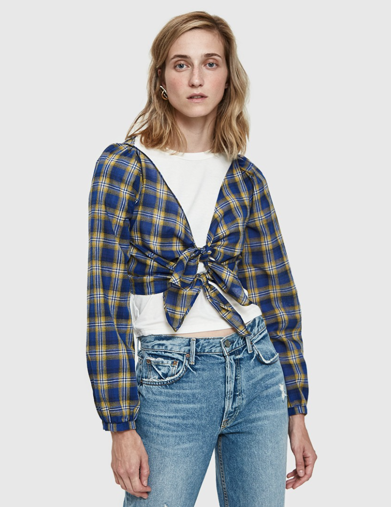- SANTIAGO PLAID TIE TOP / Farrow $48 available at Need Supply