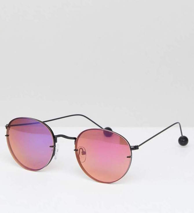 - 90'S METAL ROUND SUNGLASSES WITH LAID ON LENS / Asos $23