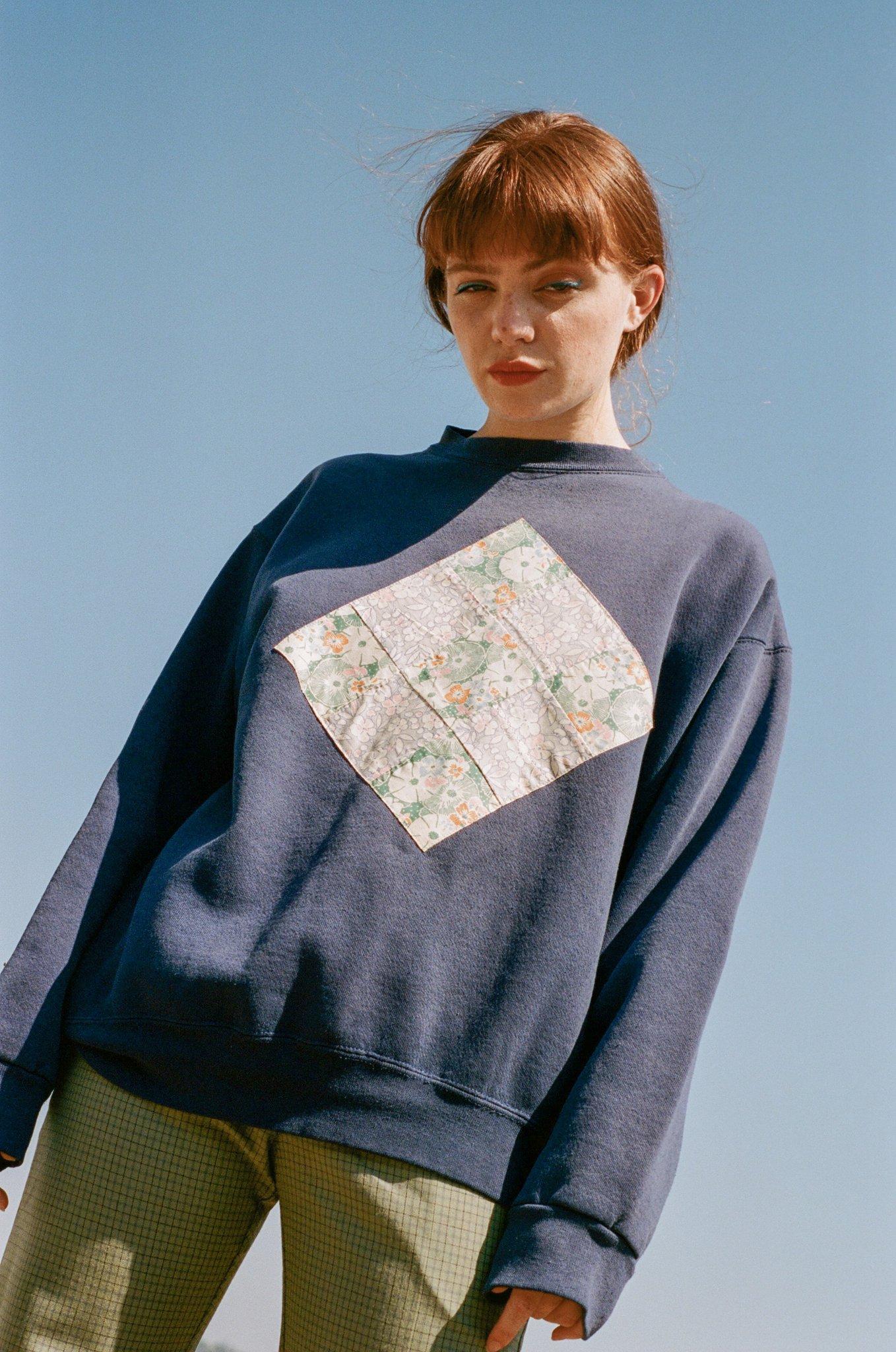 Carleen Patchwork Sweatshirt in navy $189