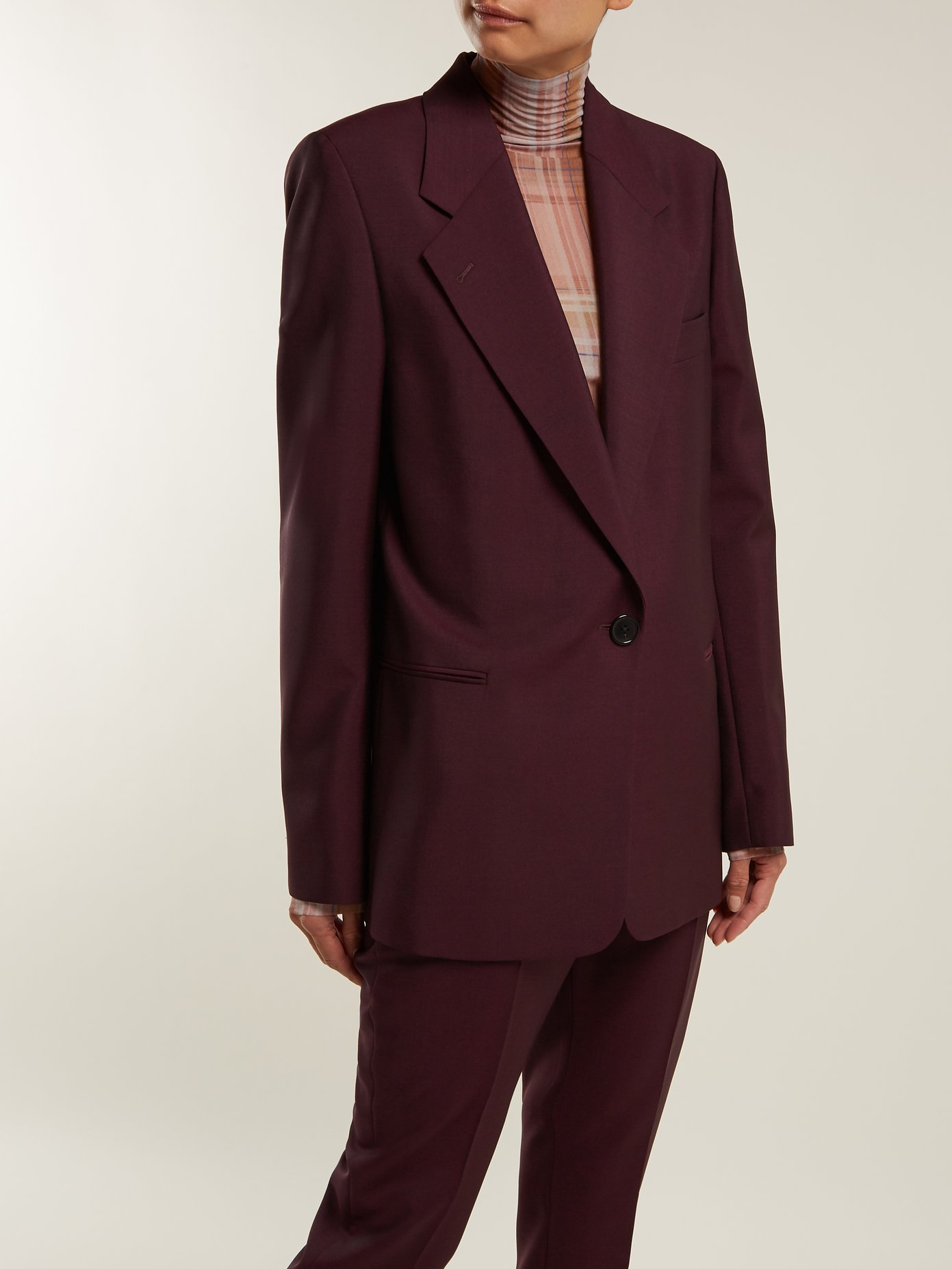 ACNE STUDIOS / SINGLE-BREASTED WOOL MOHAIR BLEND BLAZER $650 - available at Matchesfashion