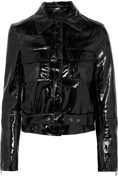 MAJE / CROPPED PATENT LEATHER JACKET $630 - available at Net-a-Porter
