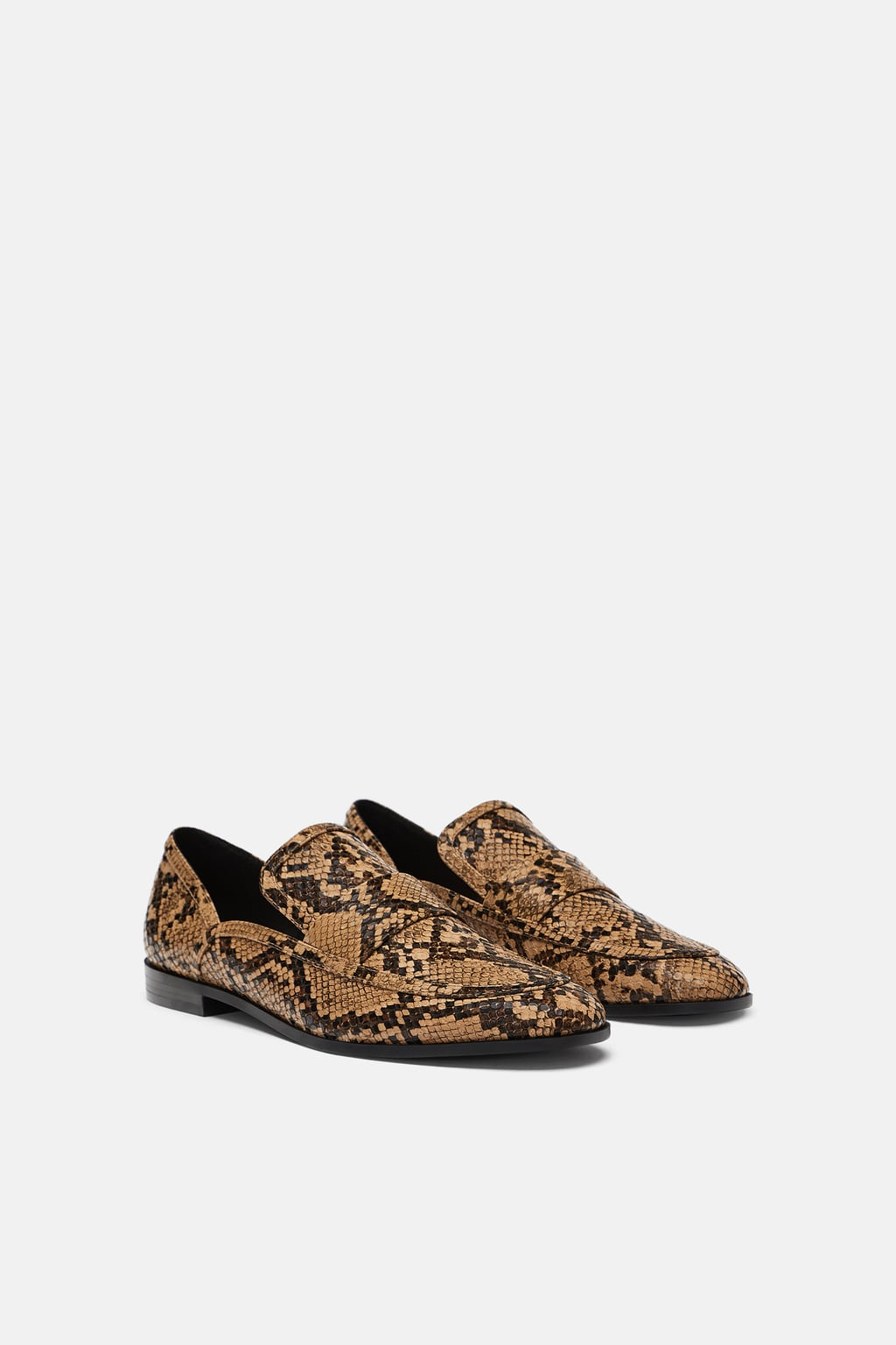 PRINTED SNAKESKIN LOAFERS $49.90 -