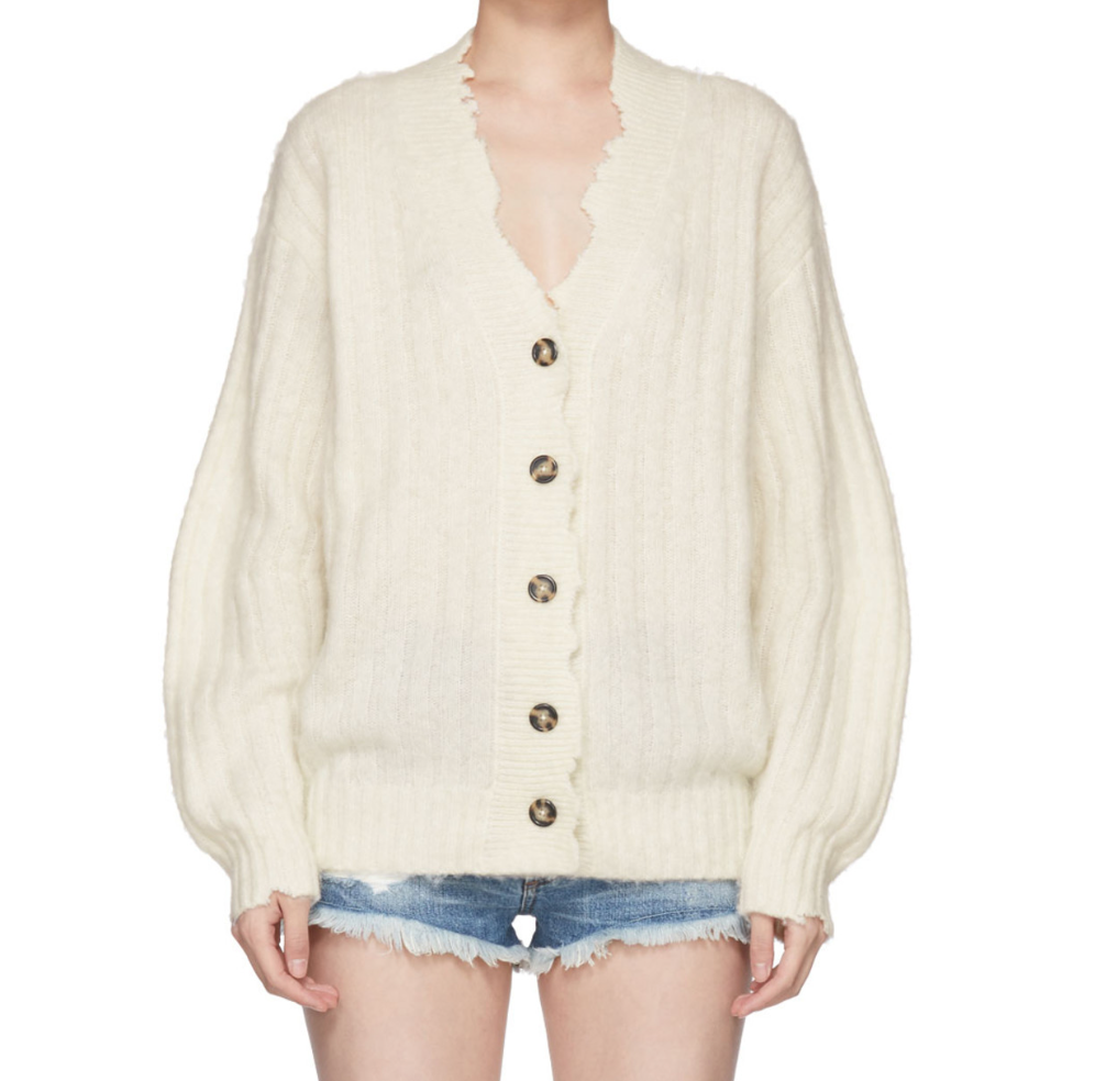 HELMUT LANG / WHITE BRUSHED WOOL CARDIGAN $485 - available at SSENSE