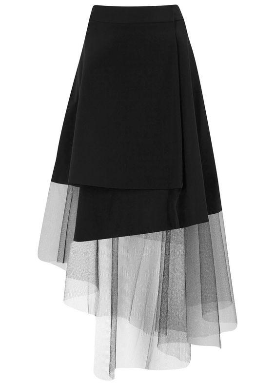 DKNY black crepe asymmetric tulle hem