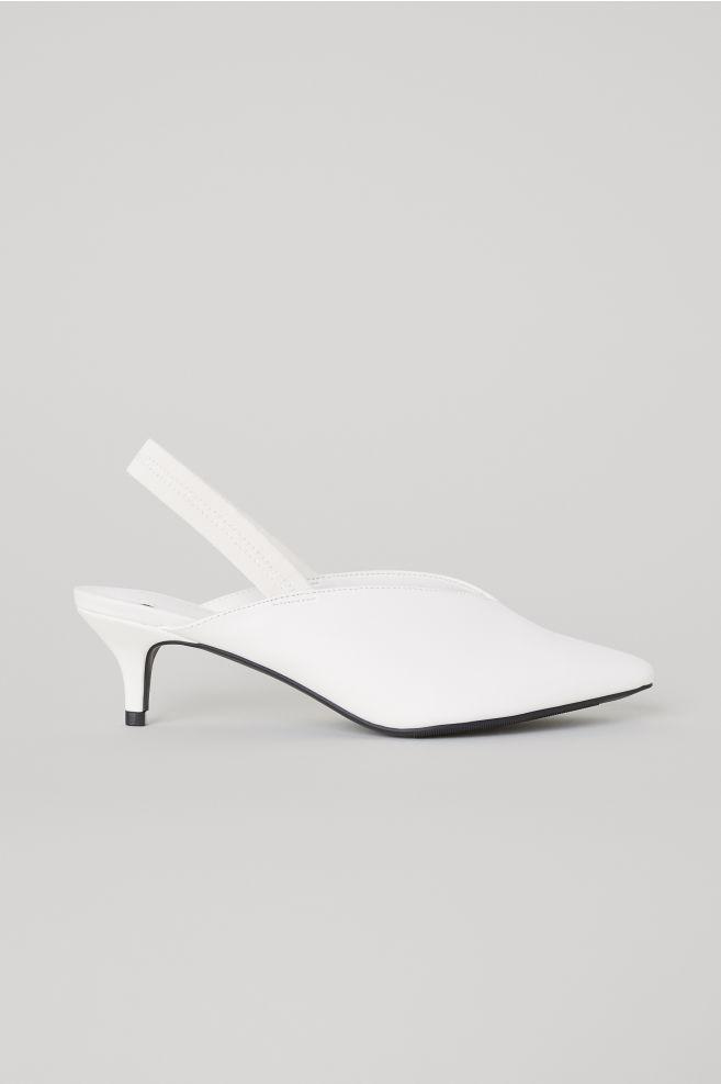 H&M / WHITE FAUX LEATHER SLINGBACKS $29.99 -