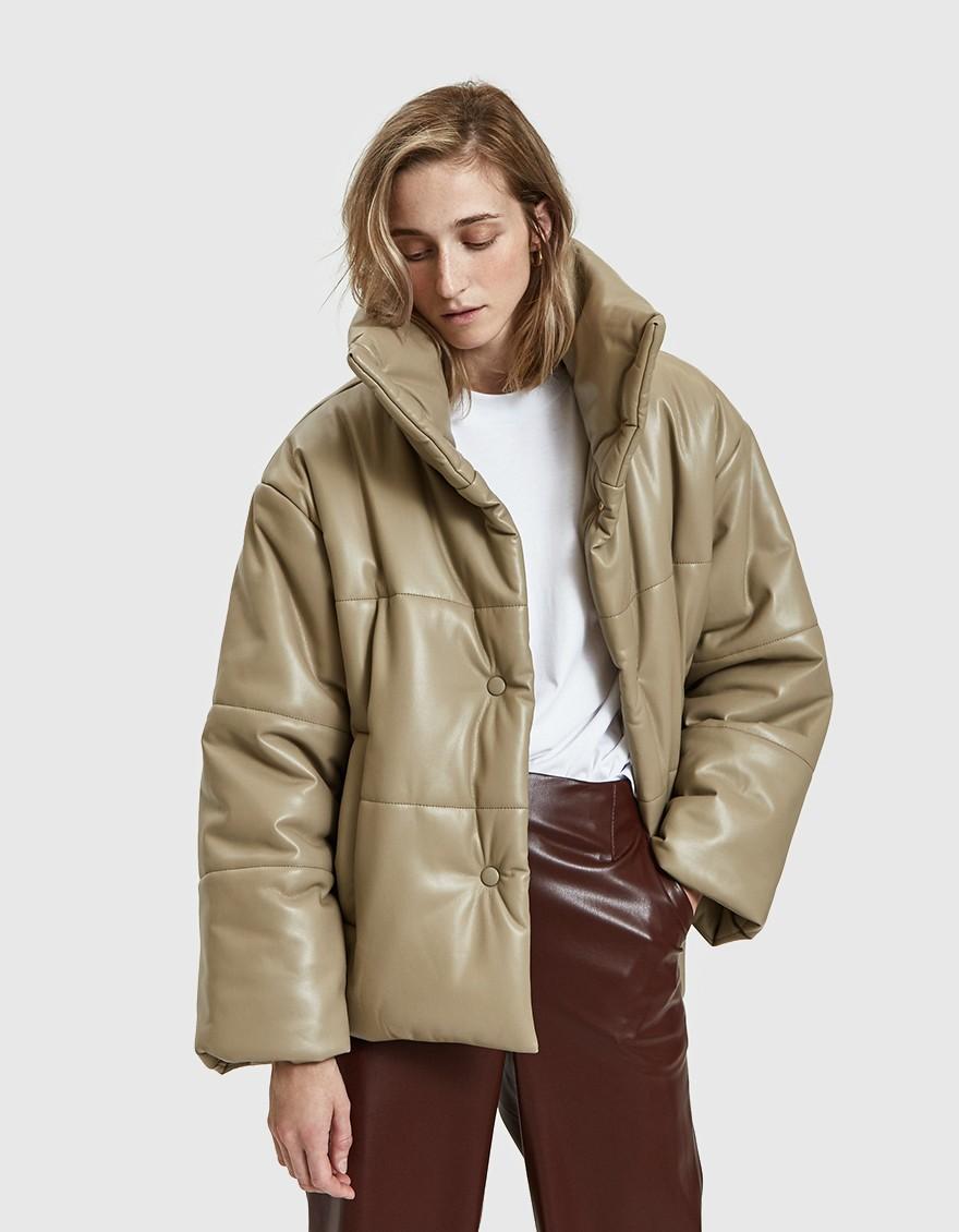 Nanushka's hide vegan leather puffer coat