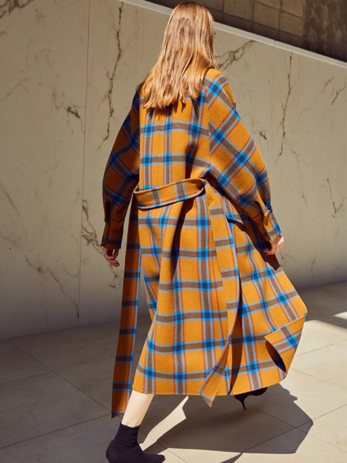 ANDERSSON BELL / HANDMADE CAMEL CHECKERED COAT $579  - available at W Concept