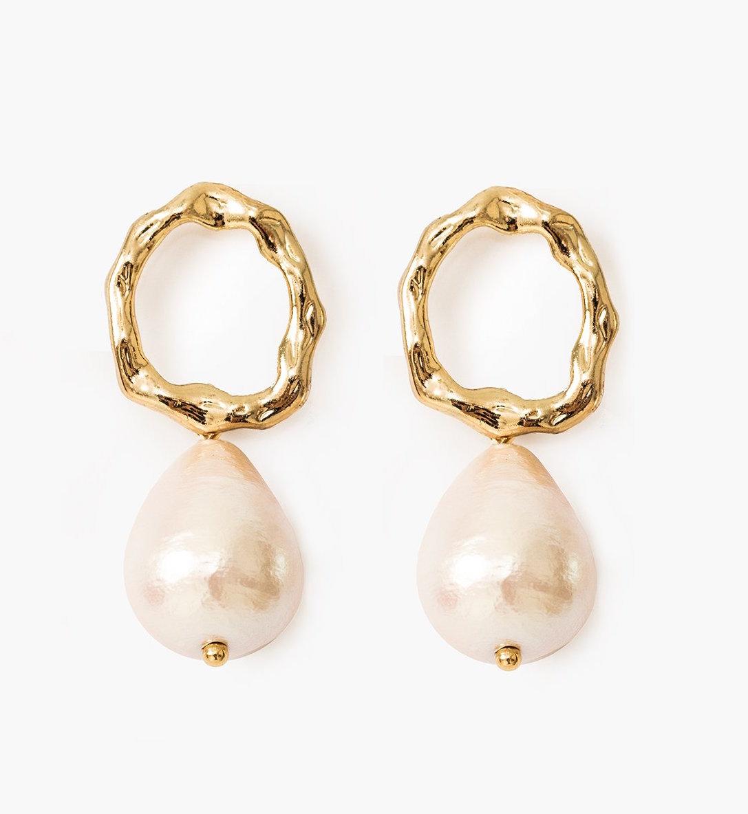 Ring Pearl Drop Earrings by Pixie Market