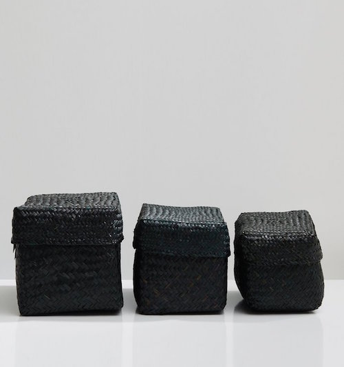 BIDK HOME / SET OF 3 HANDWOVEN SEAGRASS STORAGE BOXES $60 - available at La Garconne