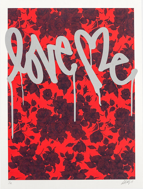 """CURTIS KULIG / RED 'FLORAL LOVE ME' PRINT $175 (18"""" x 24"""")  - available at Saturdays NYC"""