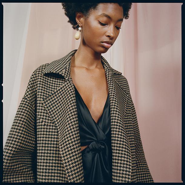 Nanushka alama houndstooth robe coat