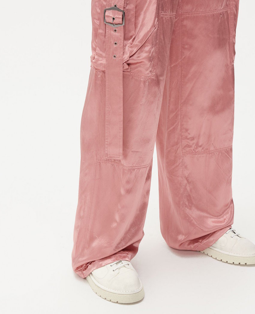 Sammie Cargo Pants in pink satin by Sies Marjan