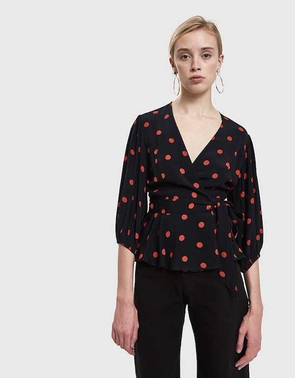 GANNI / BARRA CREPE WRAP TOP $63.99 - available at Need Supply
