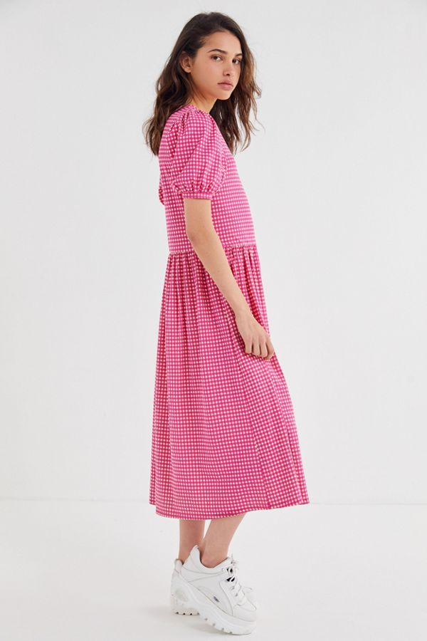URBAN OUTFITTERS / ANTIBES GINGHAM PUFF SLEEVE MIDI DRESS $69 -