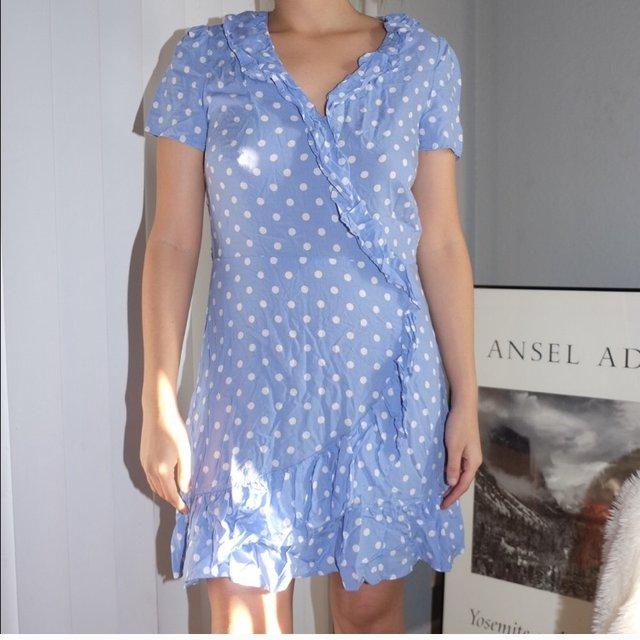@SOMETIMESAMUSE / POLKADOT WRAP DRESS IN BABY BLUE $40 (SIZE M) -