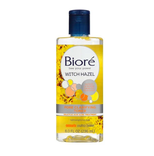 BIORE / WITCH HAZEL CLARIFYING TONER $7.99 - available at AmazonWitch hazel is a natural astringent that tightens pores and gets rid of excess dirt and bacteria. Perfect to use after washing your face and before applying moisturizer.