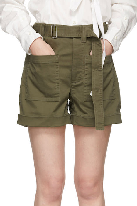 PROENZA SCHOULER / KHAKI SLOUCHY SHORTS $192 - available at SSENSE