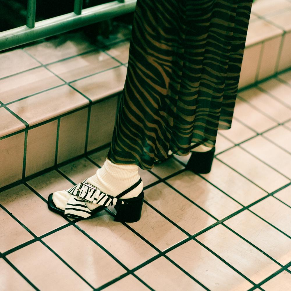 Labucq sandals in chan zebra haircalf