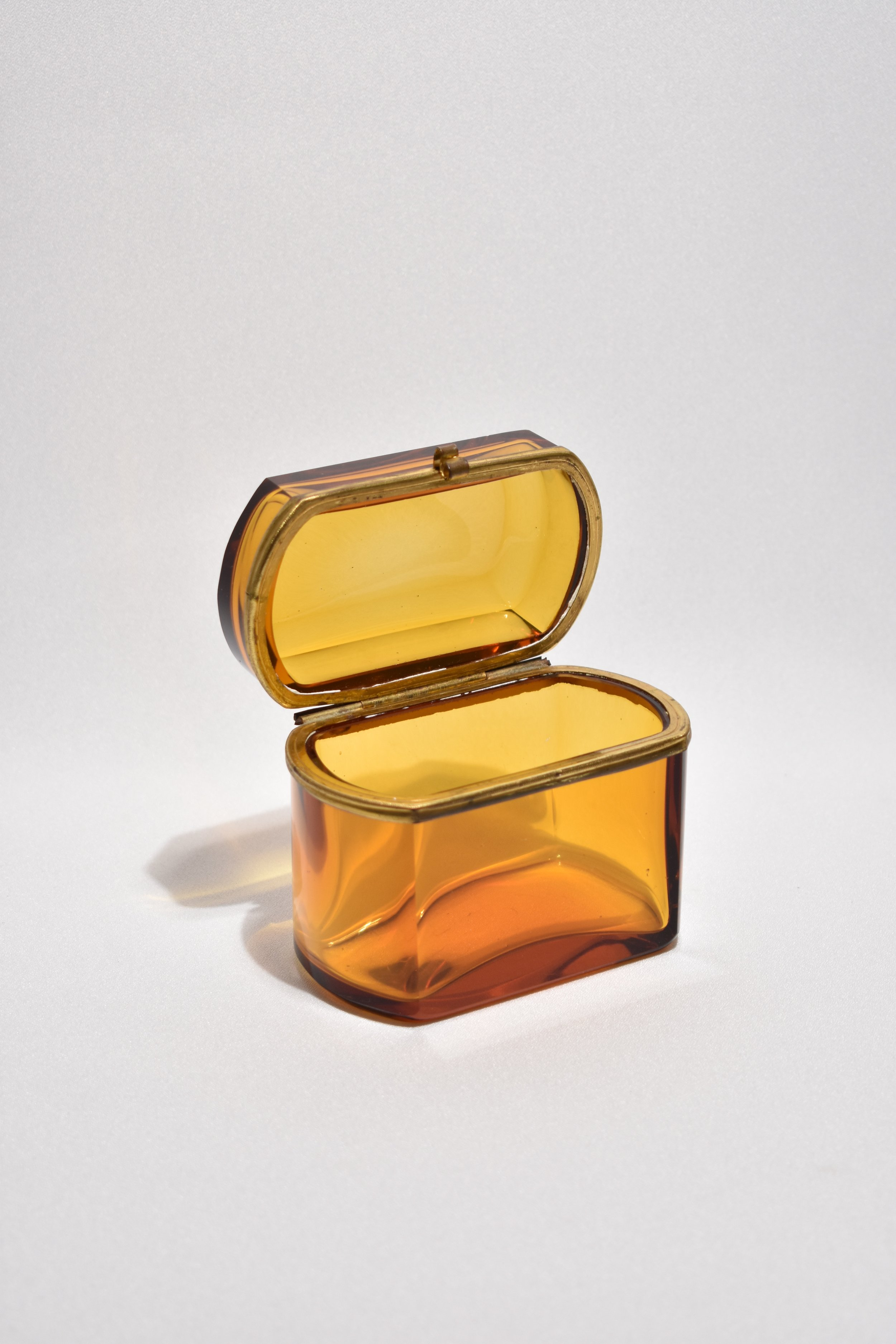 Casa Shop; Amber Glass Hinged Box
