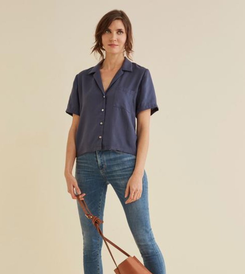 KIT CROPPED BLOUSE IN NAVY $118 -