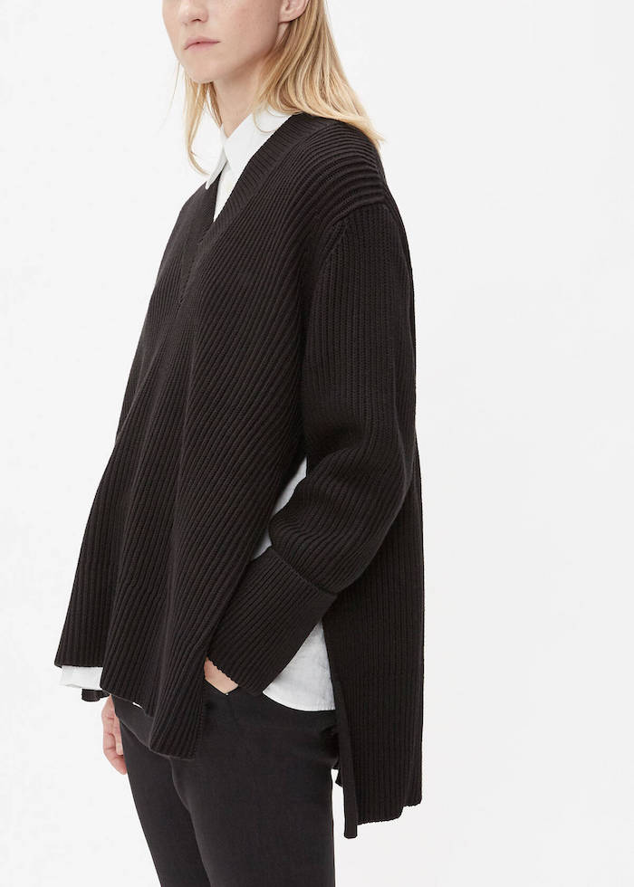 HOPE / MOON SWEATER $326 - Oversized sweaters are made for on-the-go Mondays and Fridays when the only thing you want to wear is something cozy. There's a sharpness to a ribbed v-neck, throw it over a smart business casual or belted at the waist for a working woman 80's effect. You don't have to wait for official sweater weather season, the side slits appeals to fall, winter and spring wardrobes.