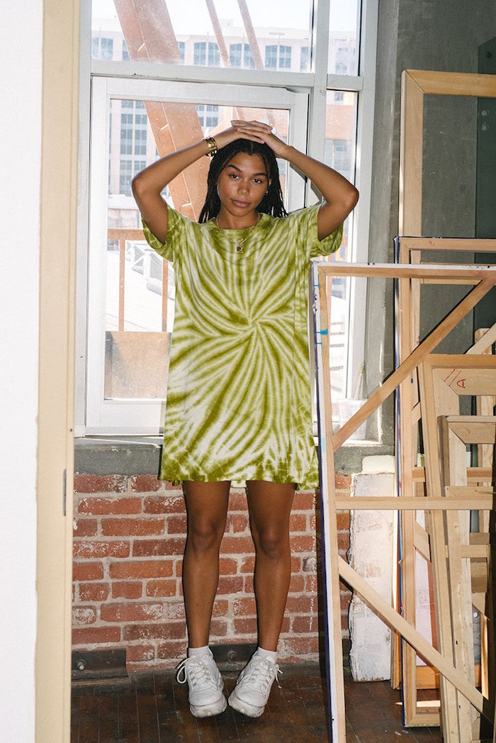 Summer Green Recycled Tie Dye Dress by Back Beat Rags