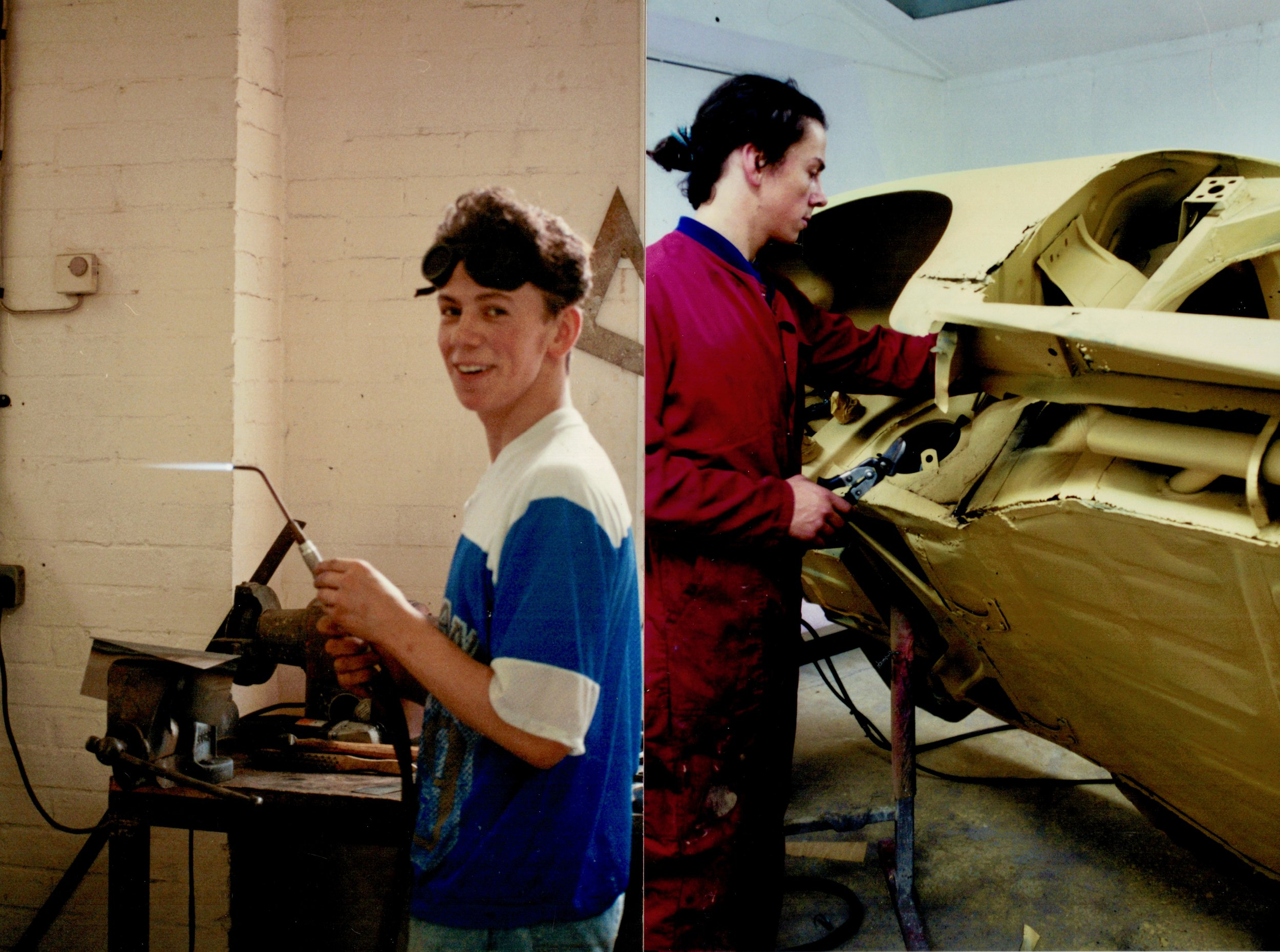 16 year old Rorky learning to gas weld.            21 years old restoring his 356A.