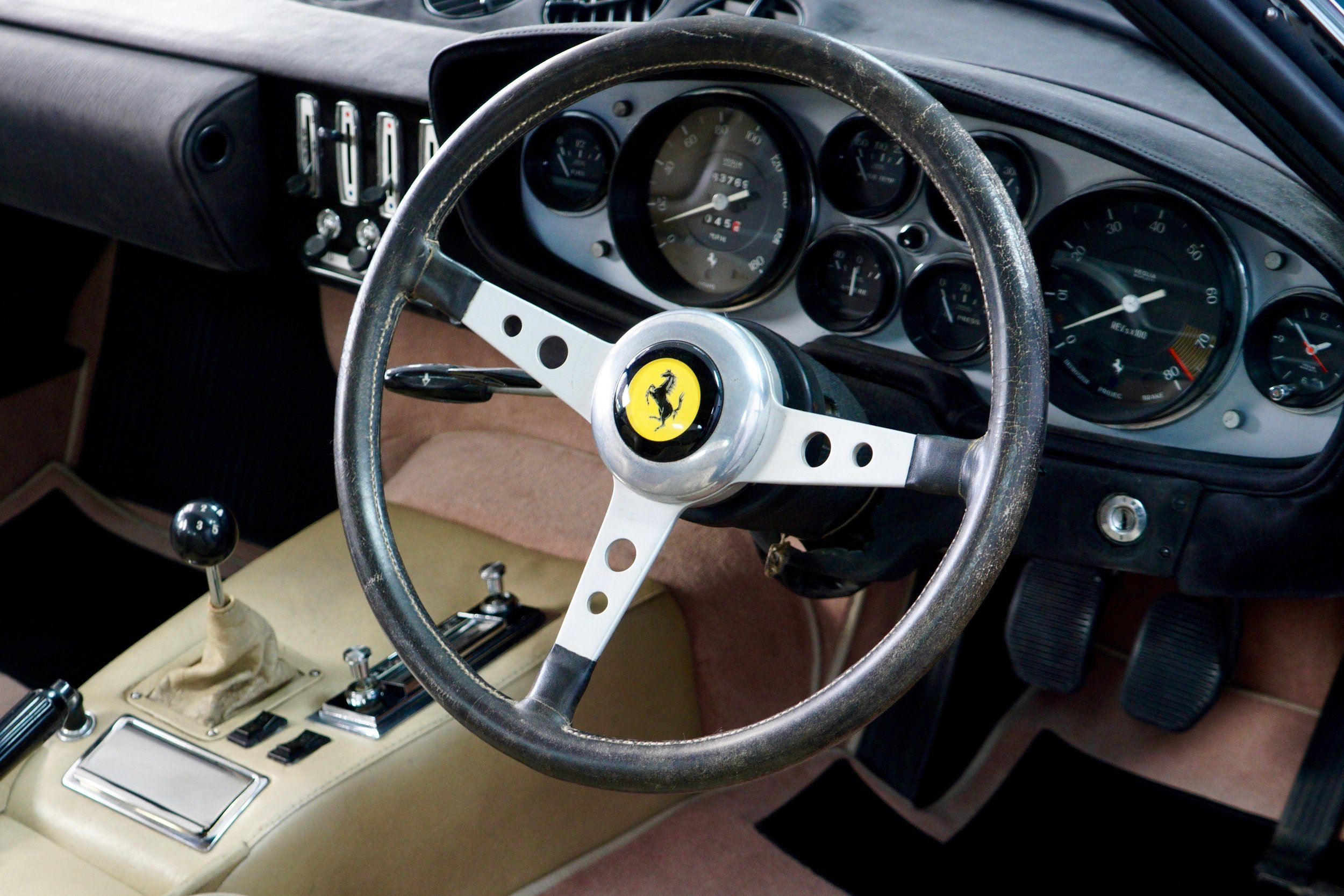 The finished steering wheel re-fitted to the car.