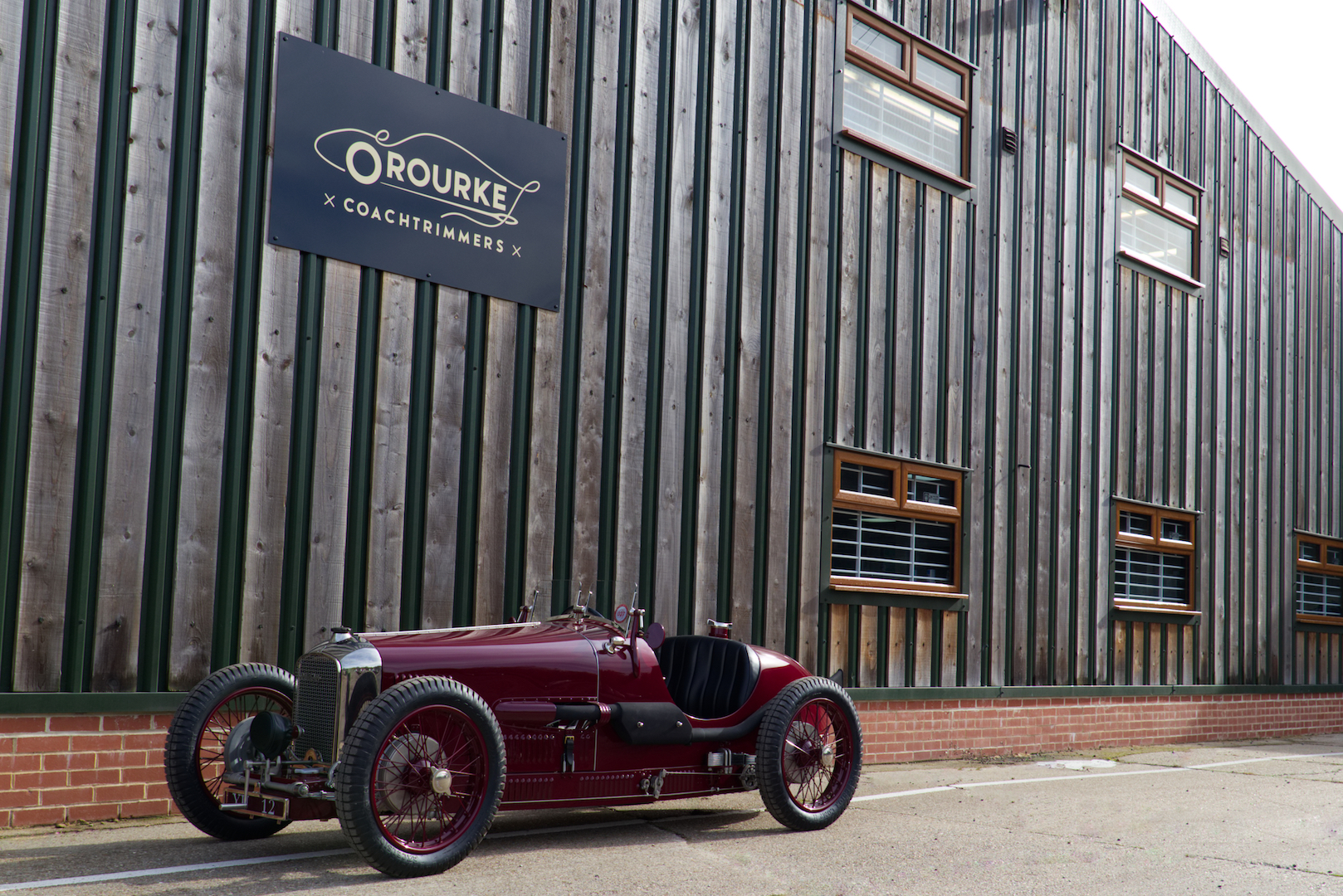 The restored car outside our workshop.