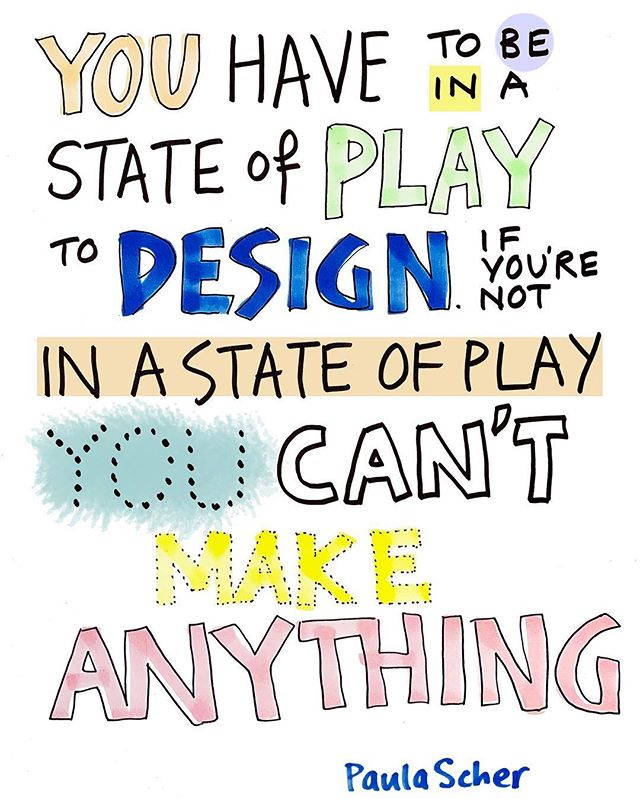 I love this quote from graphic designer Paula Scher. It feels true, I recognise it. But it can also feel hard to achieve a state of play when you are running a business, juggling commitments, feeling the pressures. So what's to be done?  Here are some suggestions I find helpful  1) every day can't be a play day. Separate your week into 'manager' days and 'maker' days. Aim to get your to do list done on manager days so that you can allow for creativity on your maker days. I was reminded of this tip listening to @dorieclark on an old HBR podcast the other day. Protecting your creative time whether it's designing, making or figuring out how to evolve your business is so important.  2) mix it up. Have a new conversation. Read an article. Change your view. Use a different notepad. Whatever it is, do things a bit differently when you want to spark creativity. wake your brain up to the fact that this is not business as usual.  3) daydream. You can't force your way to creativity. In fact one of the best things you can do is allow your mind to wander and follow where it leads you. When you're used to feeling pressure, switching off can feel hard so allow yourself time to get into the habit.  Follow my visual business tips mini series by signing up to the Visual Edit. My curated newsletter. 💭✏️💡 Link in bio.  #visualthinking #graphicrecording #graphicfacilitation #femalefounder #smallbusinesstips #creativeentrepreneurs  #graphicchange