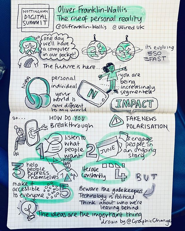 #sketchnote of a talk by  Oliver Franklin-Wallis from @wireduk  The Rise of Personal Reality ✏️💭💡 How to survive growing polarisation..? 1) listen to what people want 2) engage people in an ongoing story 3) help people express themselves 4) iterate constantly  5) make your ideas accessible  #visualthinking #techtrends #sketchnotes  #smallbusiness #femalefounders #creativeentrepreneurs #smallbusinessowner #graphicchange