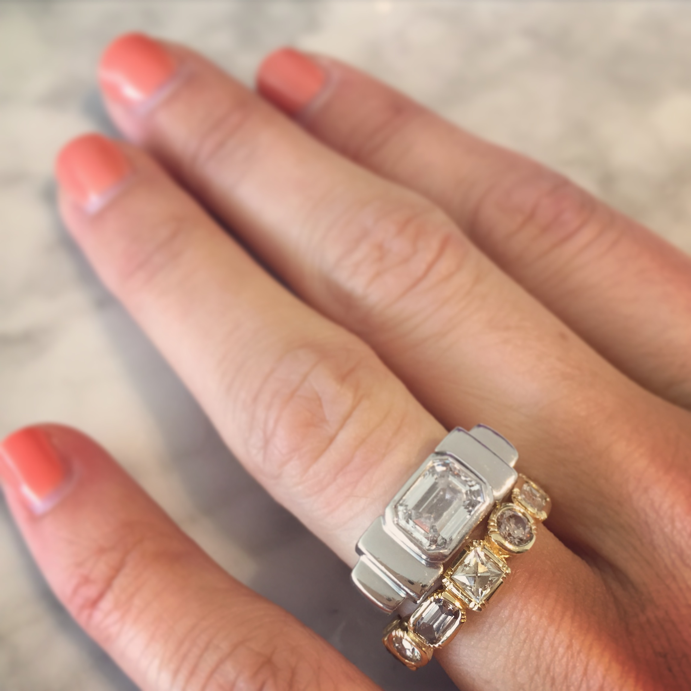 White Gold Emerald Cut Engagement Ring and Yellow Gold Alternate Wedding Ring