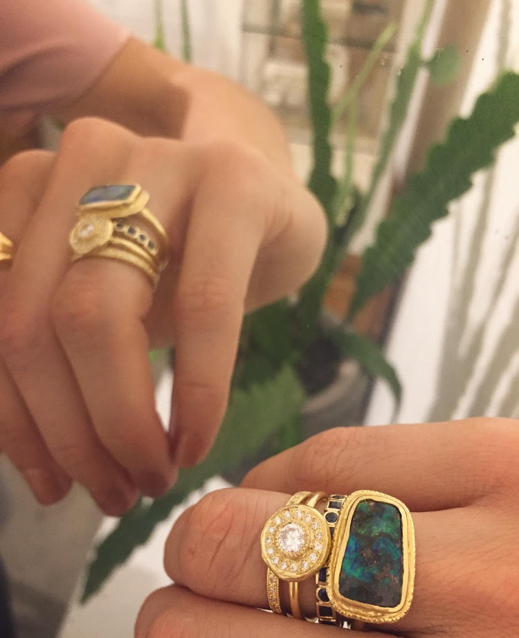 Stack of Gold Opal and Diamond Rings