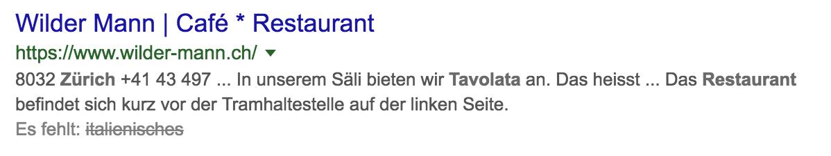 """Suchanzeige Google nach """"italienisches Restaurant Tavolata Zürich"""""""