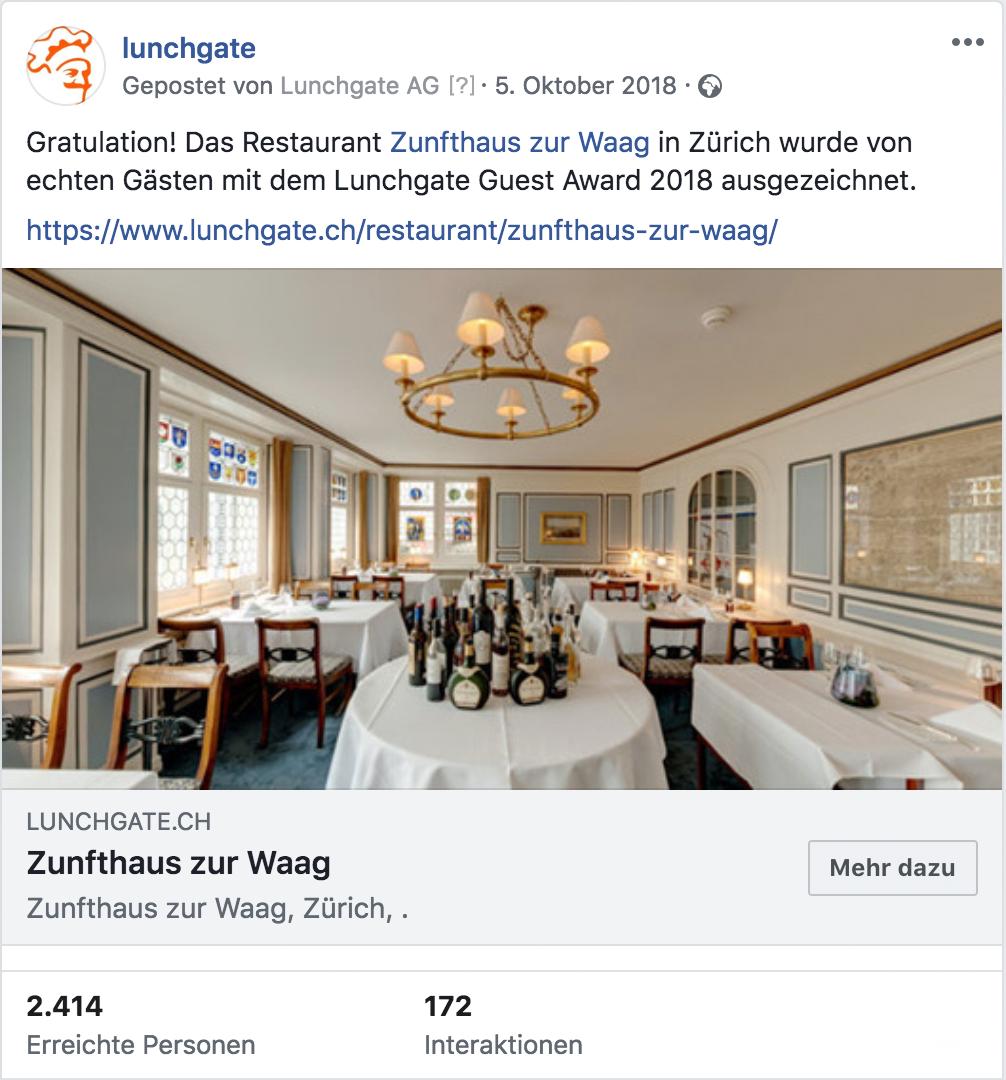 Über 2000 Personen sahen den Beitrag zum Zunfthaus zur Waag auf Facebook.
