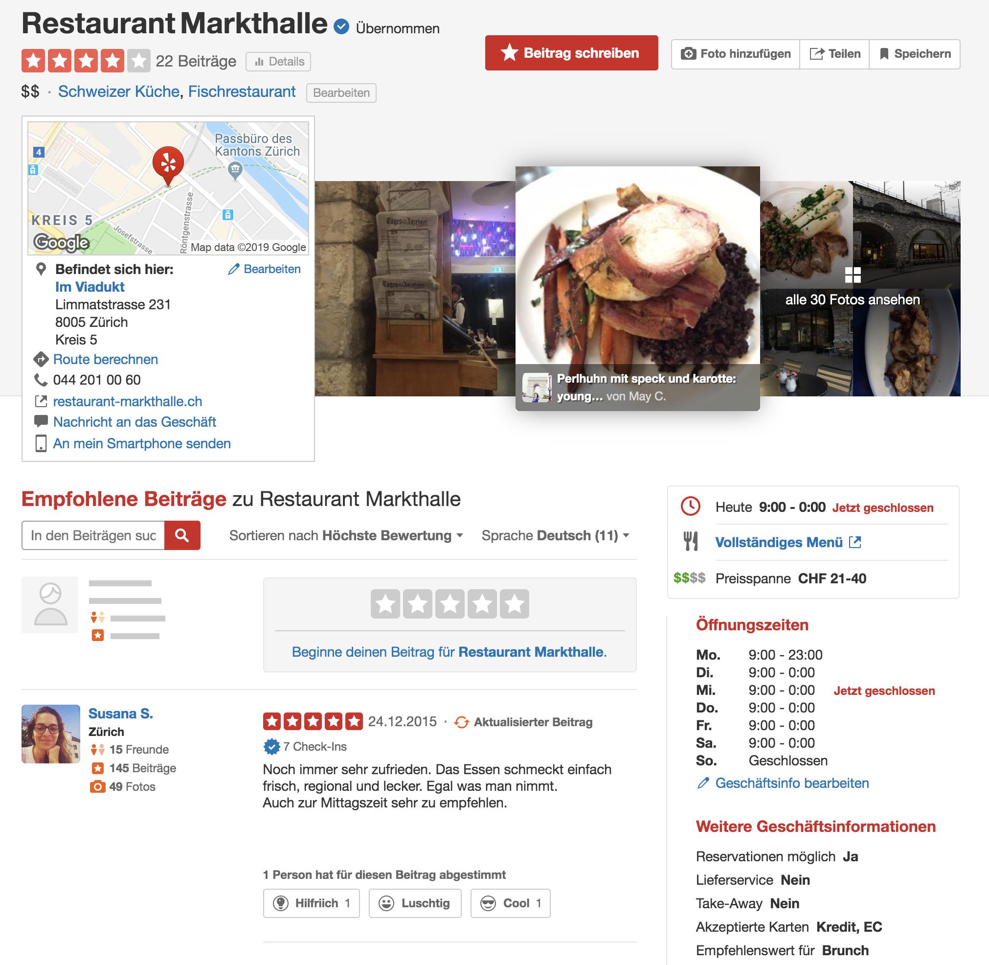 Yelp Profil der Markthalle in Zürich. Quelle: Yelp