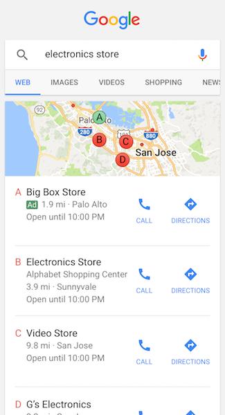 Ortsunabhängige Werbeanzeigen auf Google Maps. Quelle: Google