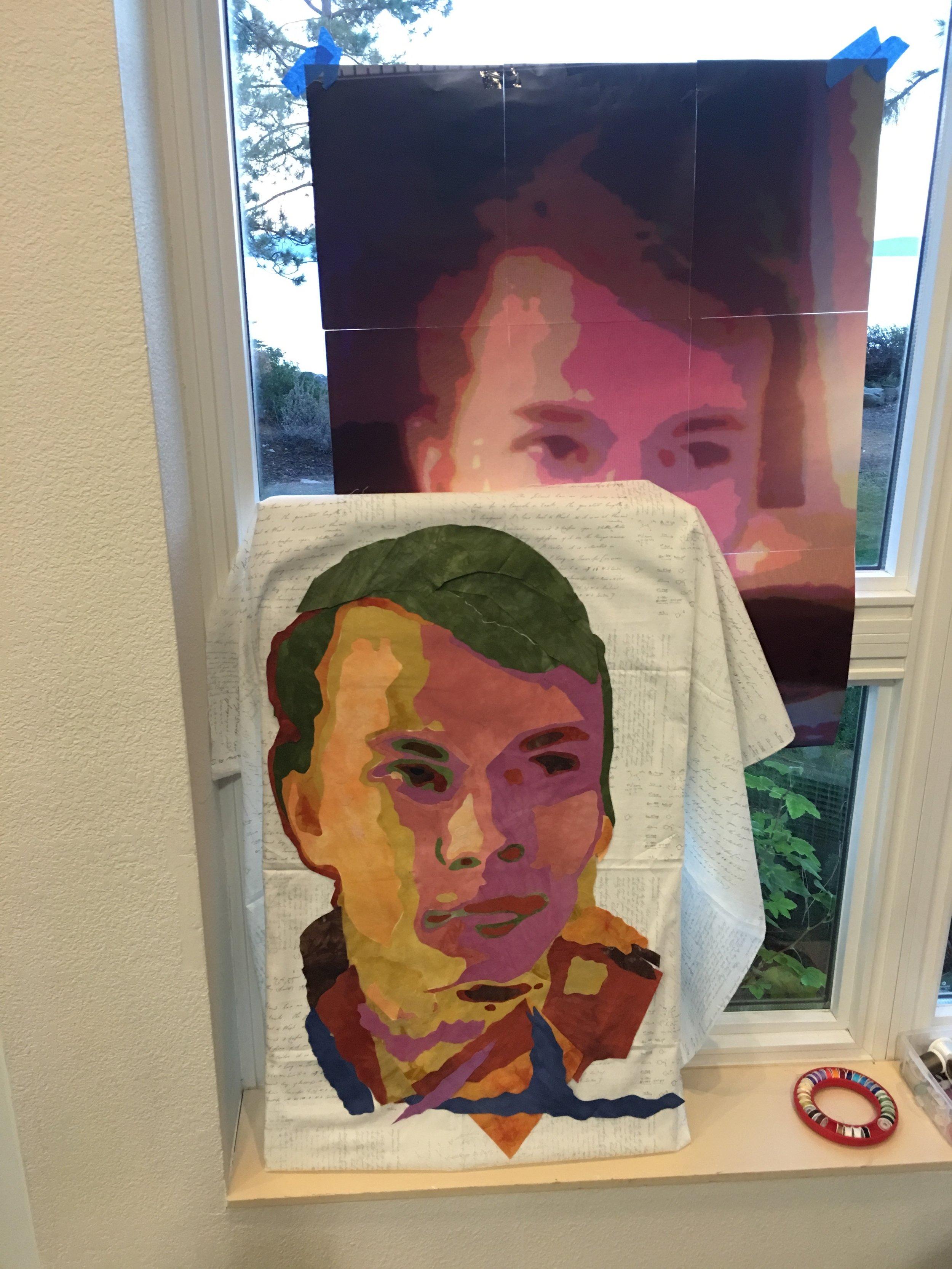 Willie Beaudet's art quilt in progress.