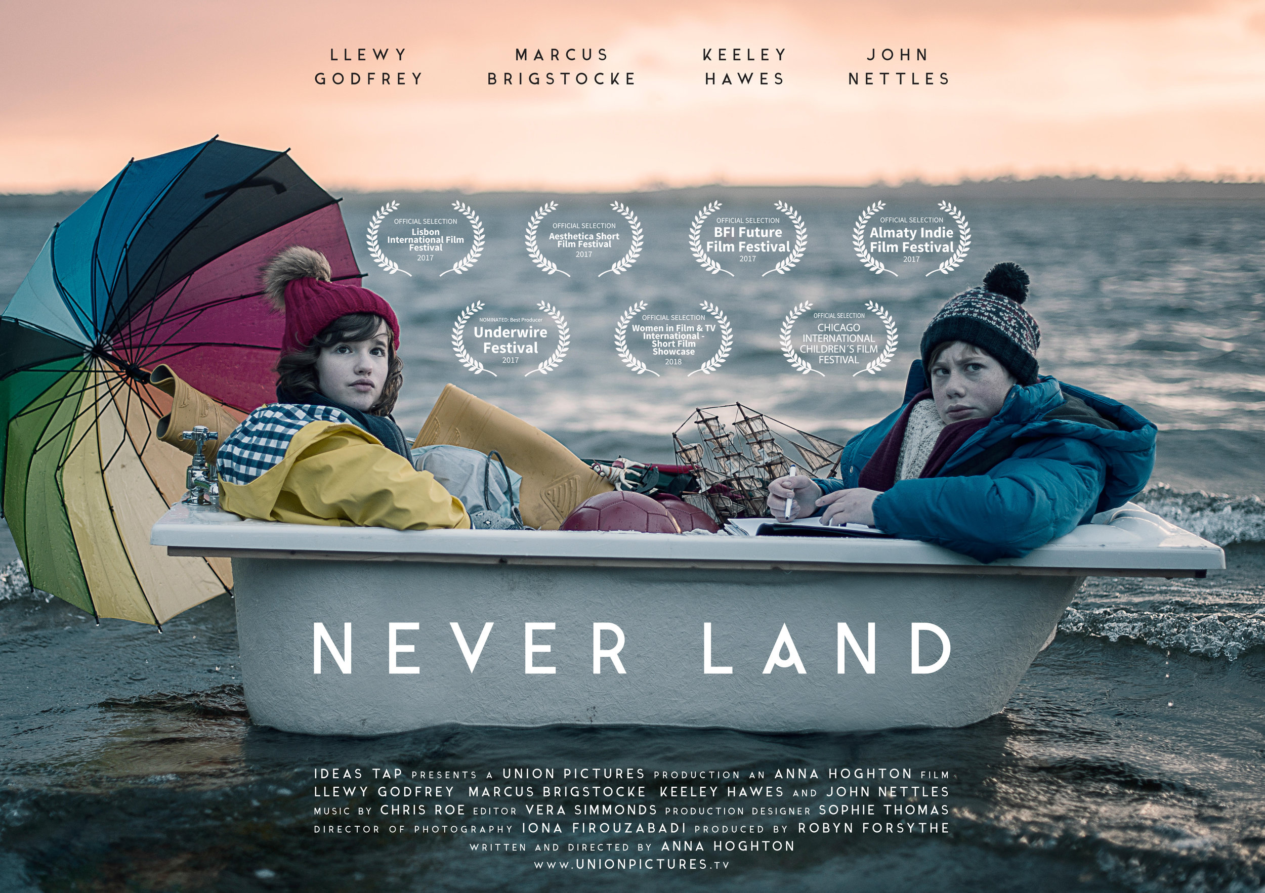 Festivals - Never Land has been part of the official selection at the following film festivals:Underwire Film Festival - nominated Best ProducerAesthetica Short Film FestivalBFI Future Film FestivalLisbon International Film FestivalChicago Children's Film FestivalAlmaty Indie Film FestivalWomen In Film & TV official showcase
