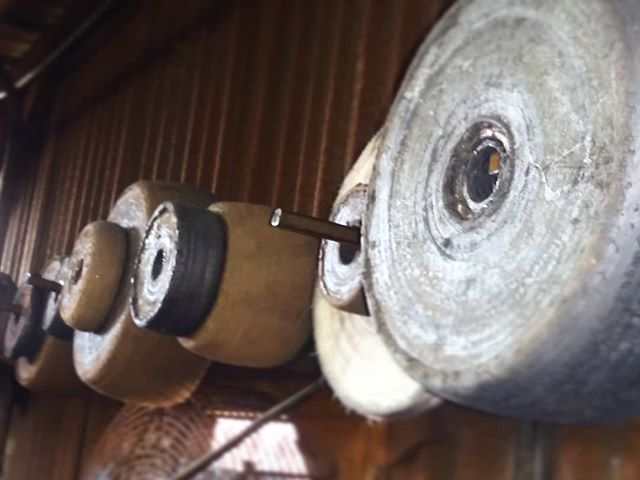 These are hand-coated #polishing #wheels. The wheels are #dipped in a special glue and coated with #abrasive material... This smoothes out any scratches or imperfections in the metal after it is #copper #plate