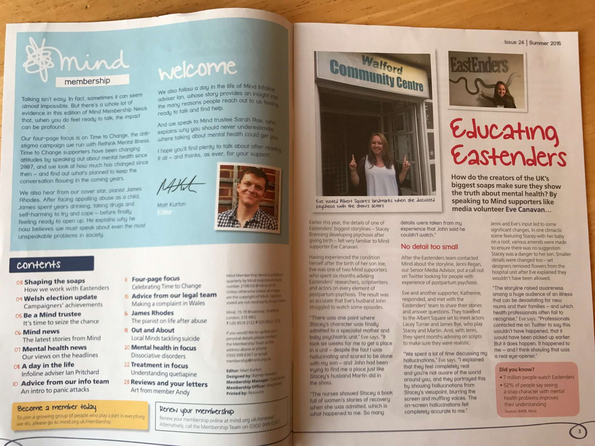 An editorial and a piece about Eastenders' writers consulting Mind supporters.