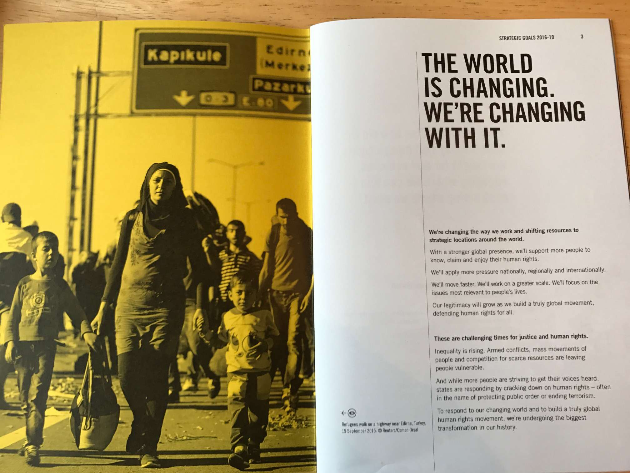 A spread explaining how Amnesty is fundamentally shifting its approach.