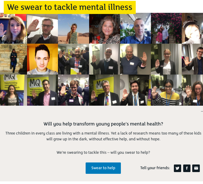 A gallery of supporters swearing to tackle mental illness.