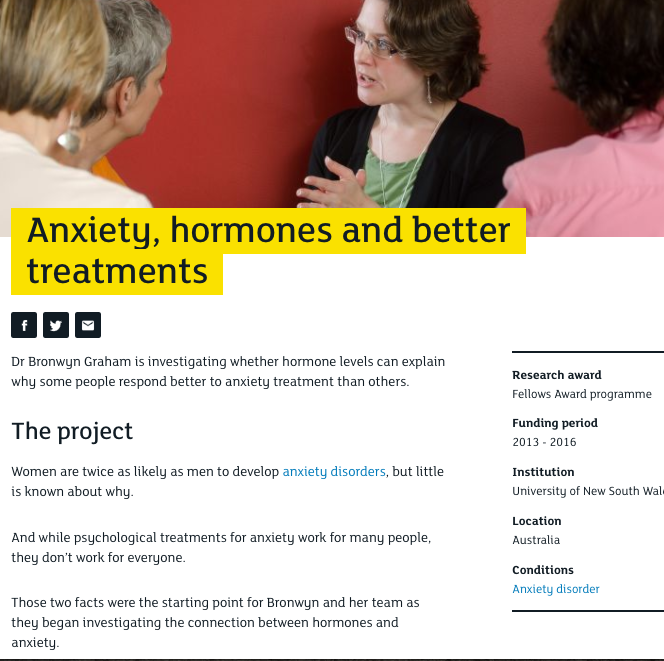 An online profile explaining MQ research into anxiety.