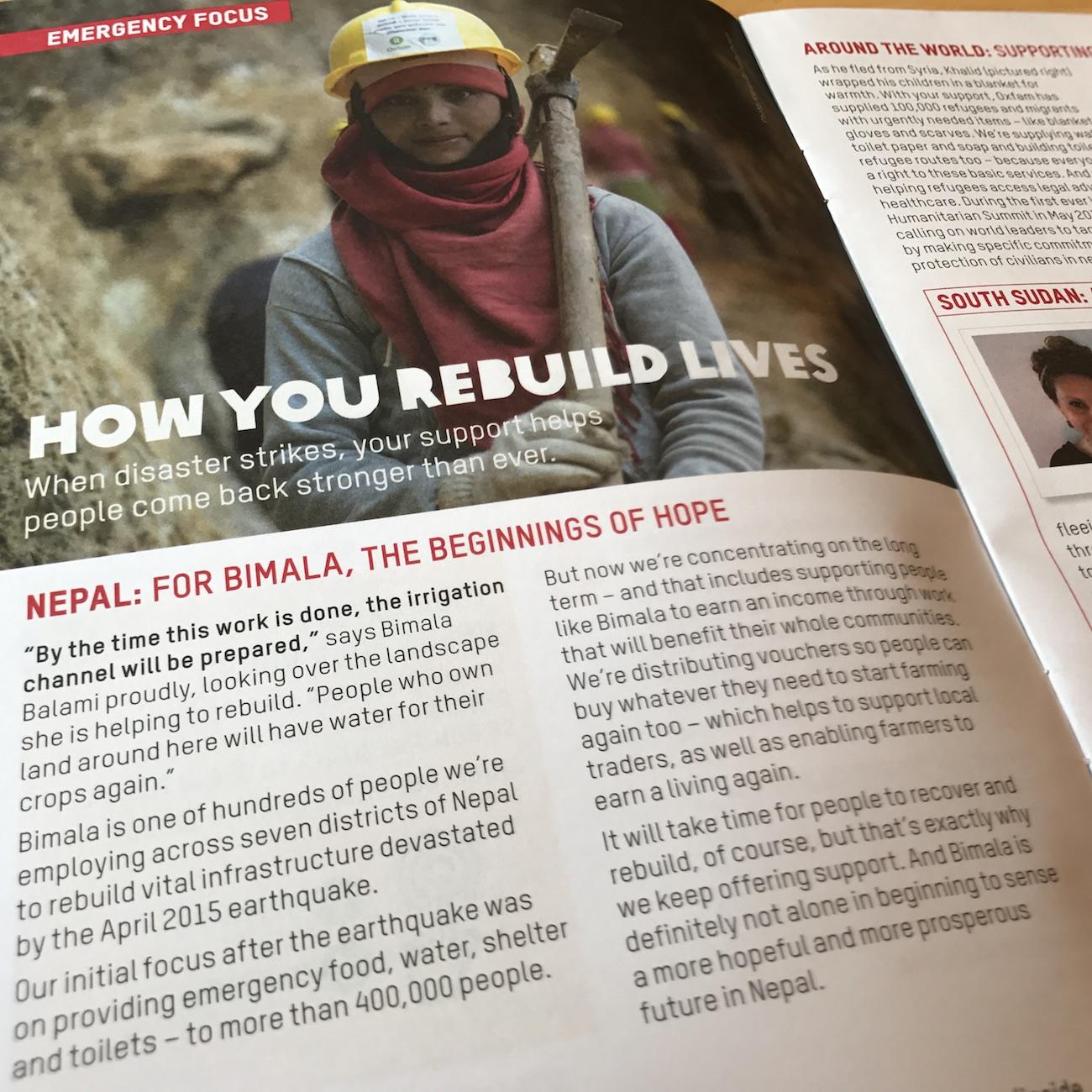 Inside Oxfam article on Nepal earthquake