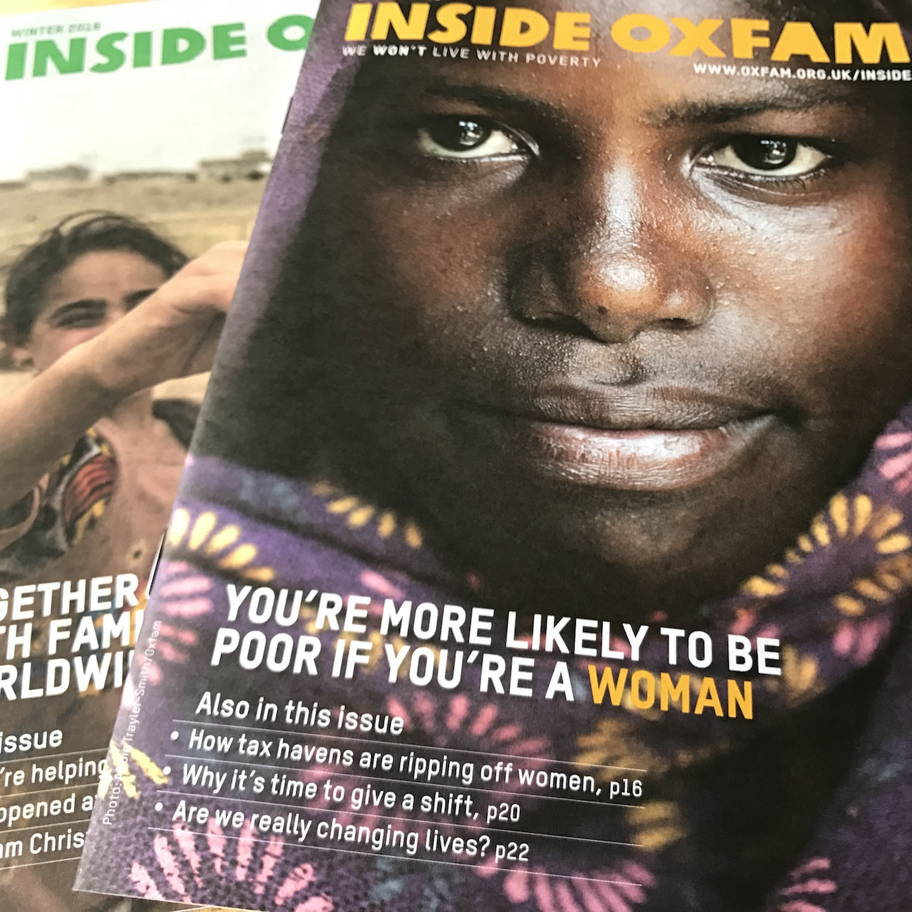 Inside Oxfam supporter magazine covers