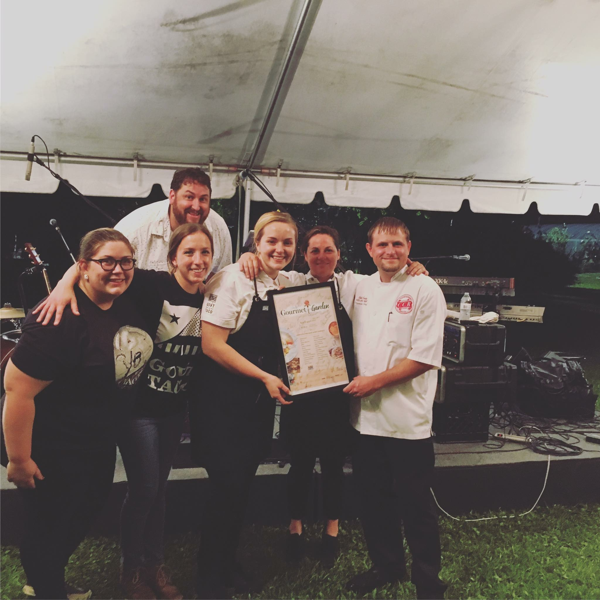 Blair Loup, Jennifer Breithaupt, Therese Schneider, Aimee Tortorich, Colt Patin (LCI) and Jay Ducote (up top) celebrate the Gov't Taco win at Gourmet in the Garden, 4/20/17