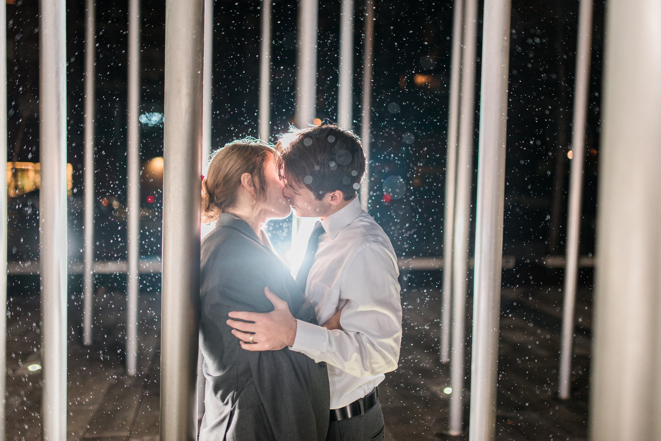 Night time wedding picture, modern wedding photographers