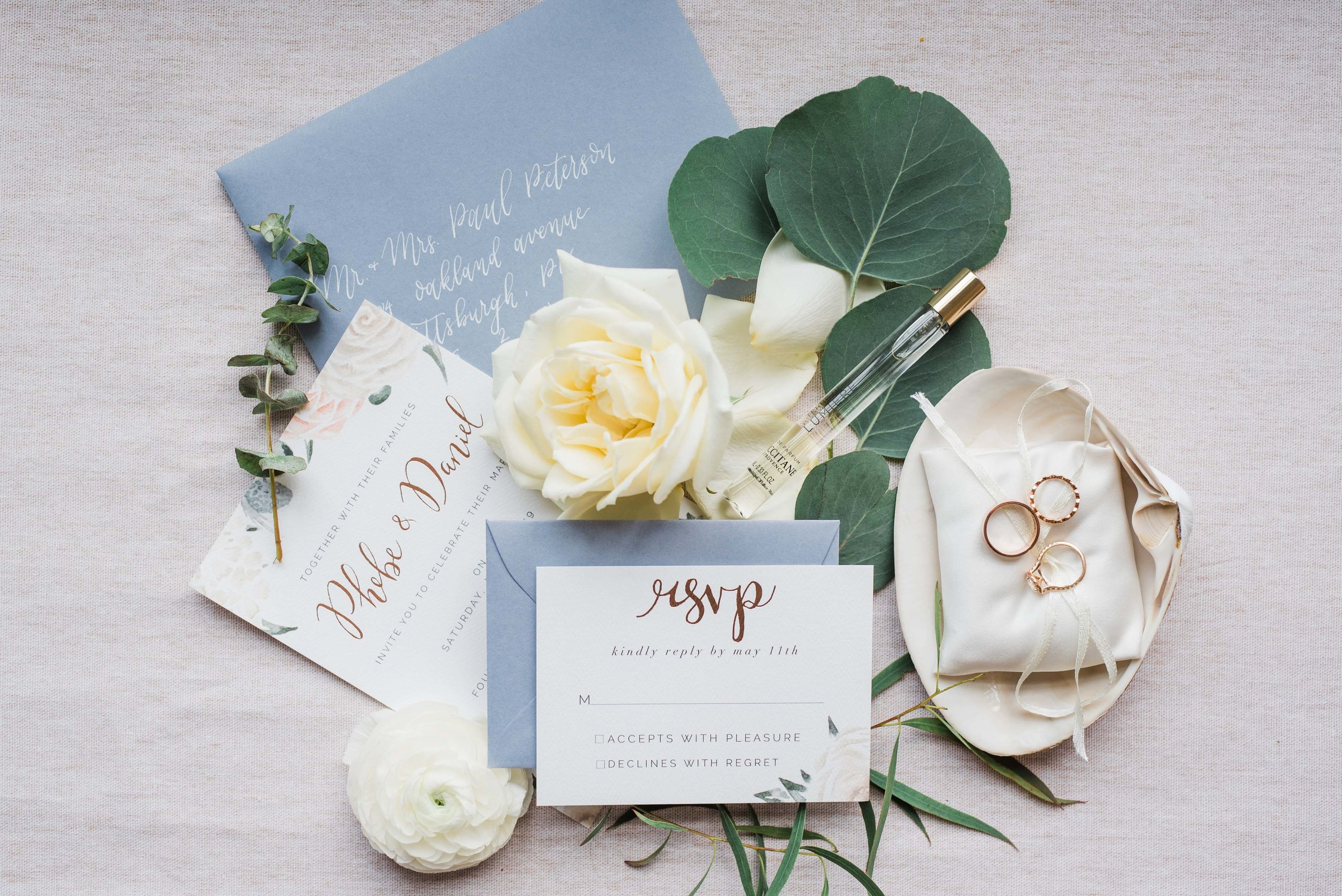 blue invitation suite wedding ace hotel pittsburgh