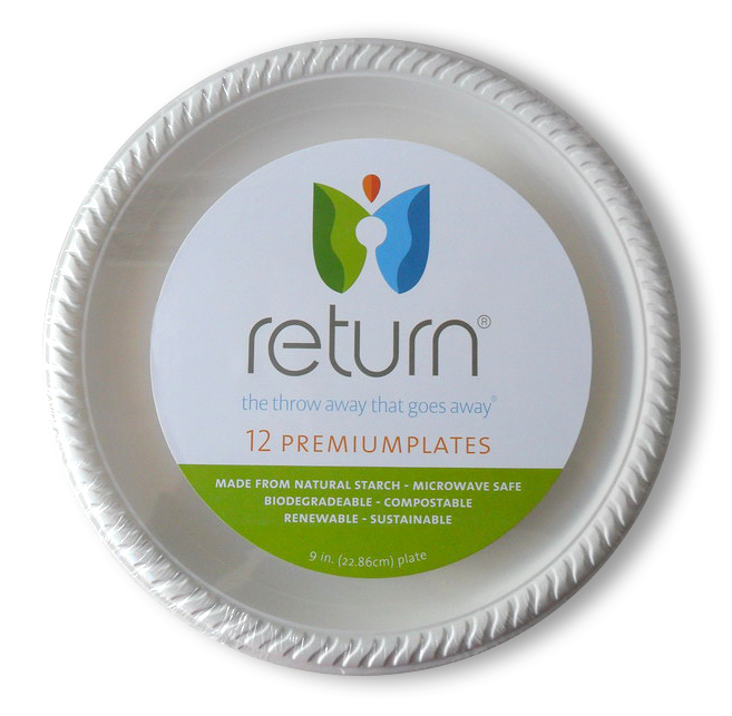 """100% Natural Starch 9"""" Compostable Plates"""